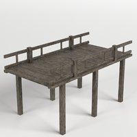 3D wooden pier railing
