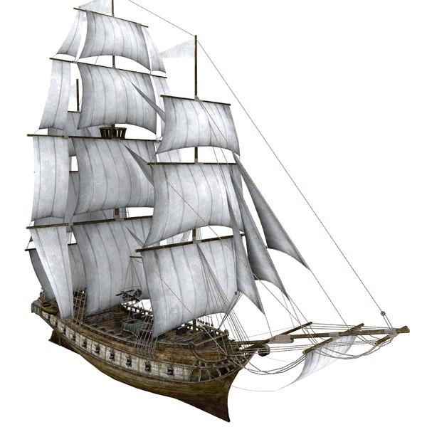 3D sea sailing ship