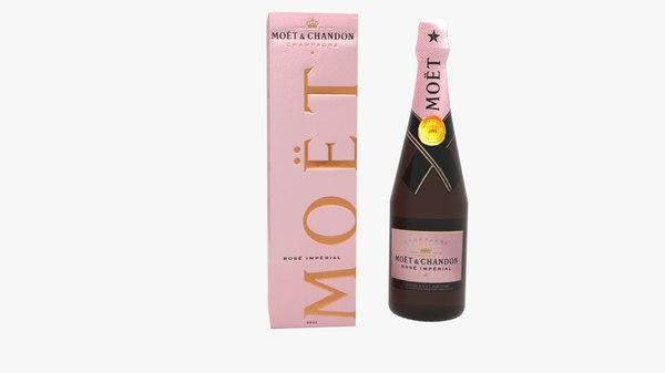 3D moet chandon ros champagne bottle