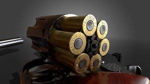 3D model revolver shell bullet