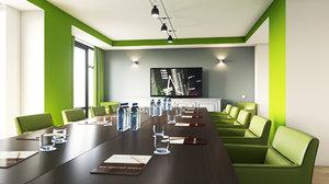 3D realistic briefing room interior model