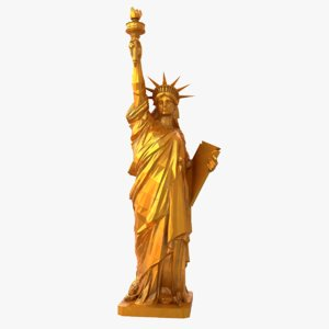 gold statue liberty 3D model