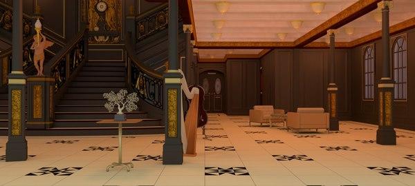 interior titanic ship 3D model