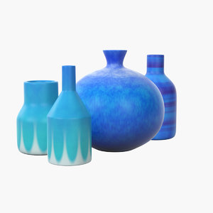 3D decorative set blue ceramic model