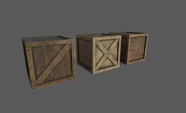 3D wood boxes model
