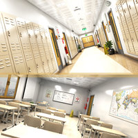school classroom hallway 3D model
