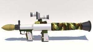 3D grenade launcher mt4 anti-tank model