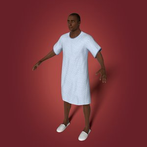 3D old african man