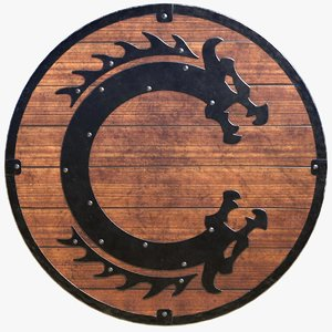 historically viking serpent shield 3D model