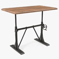 3D crank sit-stand desk furniture model