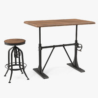 Pittsburgh Crank Standing Desk with Barstool