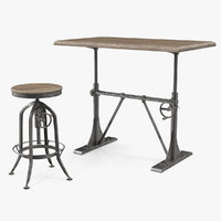 Pittsburgh Crank Standing Desk with Stool 3D Model
