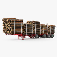 logging trailer manac small 3D model