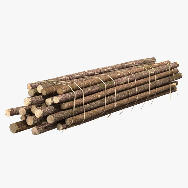pile wood logs 3D model