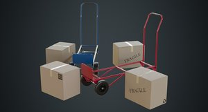 3D hand truck boxes 2a model