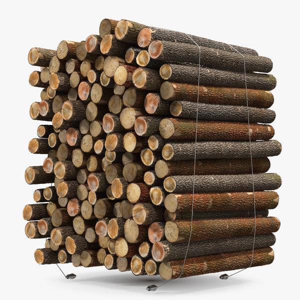 3D model pile small wood logs