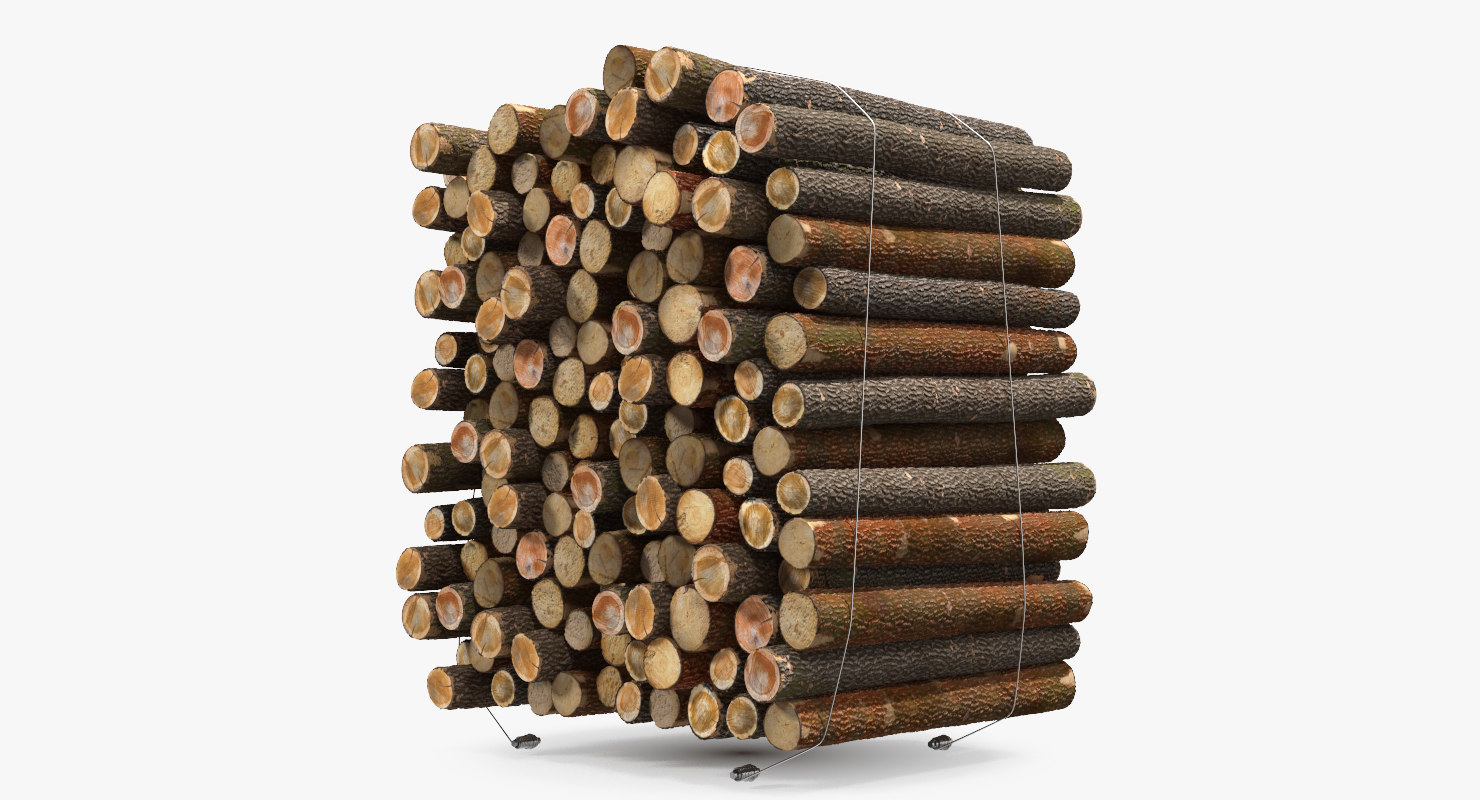 3D model pile small wood logs