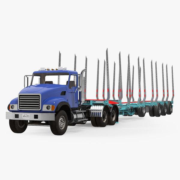 truck logging trailer 3D model