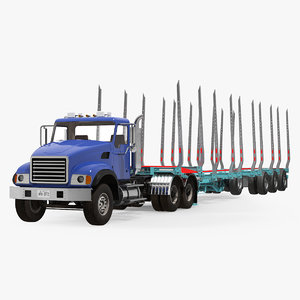 truck logging trailer 3D model