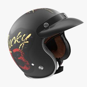 3D vintage motorcycle helmet lucky