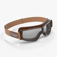 3D brown pilot goggles model