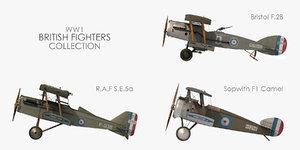world war british fighter 3D model