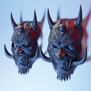 oni japanese mask 3D model