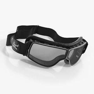 retro pilot goggles black 3D model