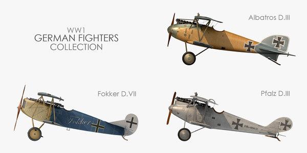3D world war german fighter model