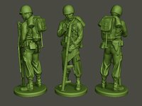3D american soldier ww2 looking