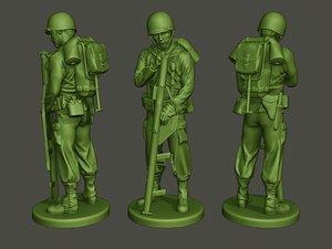 3D american soldier ww2 looking