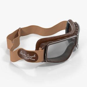 3D retro pilot goggles brown