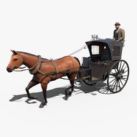 hansom cab carriage 3D model