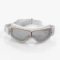 retro pilot goggles white 3D model