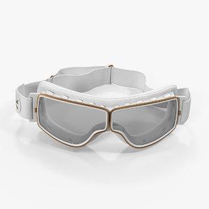 retro pilot goggles white 3D model