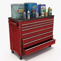 Tool cabinet with cans