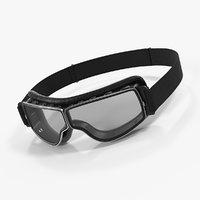 3D black pilot goggles