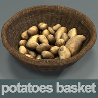 3D basket potatoes model