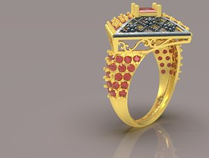 indian jewelry ring flowers 3D model