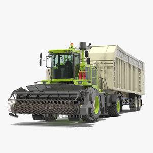 3D model harvester combine trailer generic