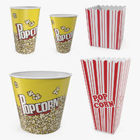 3D popcorn containers popped corn