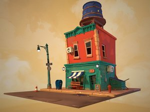 stylized cartoon house model