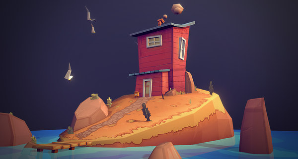 3D low-poly island model