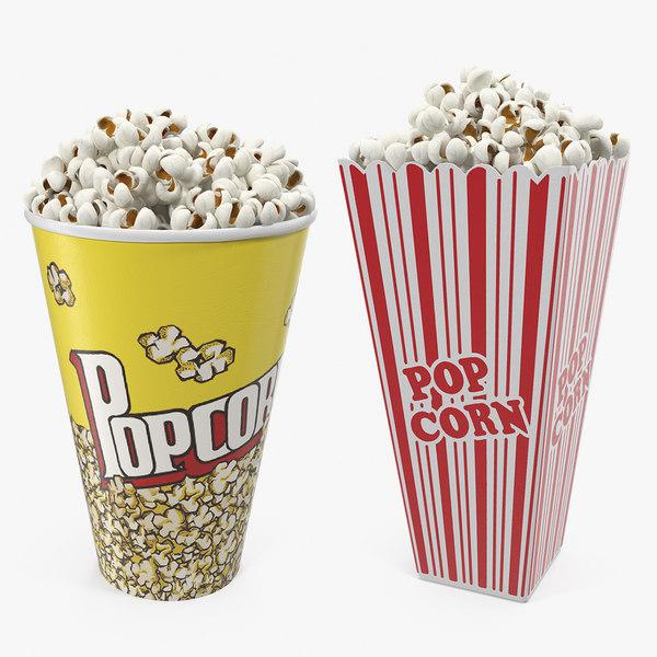3D popcorn cups corn model