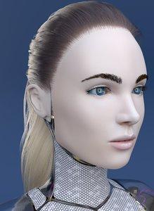 3D cyborg female skin