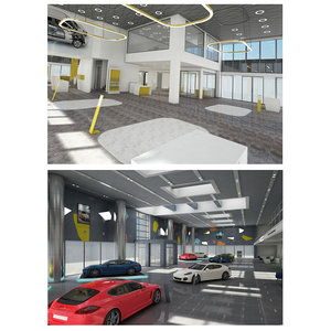 3D car dealership build showroom model