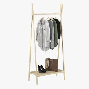 realistic clothes rack 3 3D model