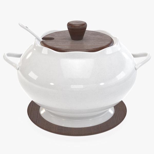 3D model ceramic porcelain sugar pot