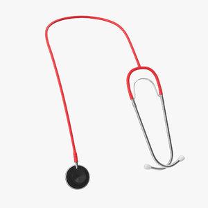 3D model stethoscope 2 red
