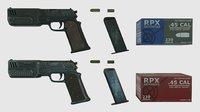 pistol pbr materials 3D model